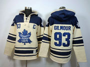 Mens nhl toronto maple leafs #93 gilmour cream color 3rd c patch hoodie Jersey
