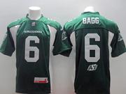 Mens Cfl Saskatchewan Roughriders #6 Bagg Green Jersey