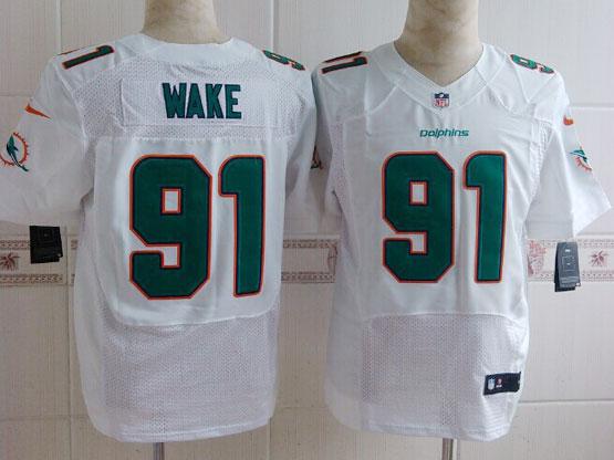 Mens Nfl Miami Dolphins #91 Wake White (2013 New) Elite Jersey