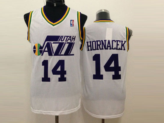 Mens Nba Utah Jazz #14 Hornacek White Revolution 30 Jersey (m)
