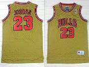 Mens Nba Chicago Bulls #23 Jordan Gold Mesh Jersey