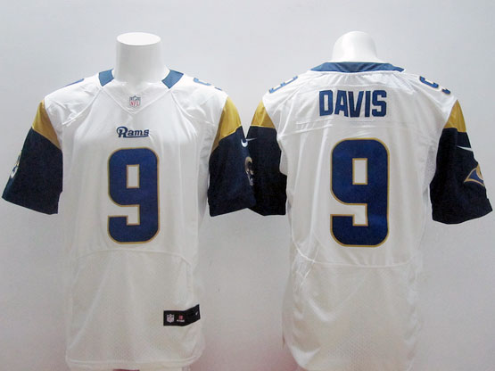 Mens Nfl St. Louis Rams #9 Davis White Elite Jersey