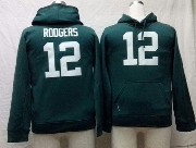 youth nfl Green Bay Packers #12 Aaron Rodgers green hoodie jersey