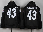 Mens Nfl Pittsburgh Steelers #43 Polamalu Black (nk Team Logo) Pullover Hoodie Jersey