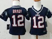 kids nfl New England Patriots #12 Tom Brady blue jersey