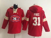 mens nhl Montreal Canadiens #31 Carey Price red (new single color) hoodie jersey