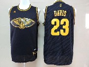 Mens Nba New Orleans Hornets #23 Davis Dark Blue Precious Metals Fashion Swingman Jersey