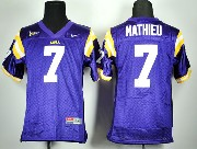 Youth Ncaa Nfl Lsu Tigers #7 Mathieu Purple Jersey
