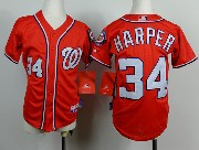 youth mlb washington nationals #34 bryce harper red Jersey