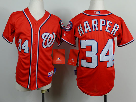 youth mlb washington nationals #34 bryce harper red Jersey