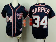 youth mlb washington nationals #34 bryce harper blue Jersey