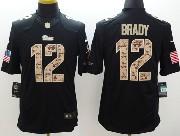 mens nfl New England Patriots #12 Tom Brady salute to service black limited jersey