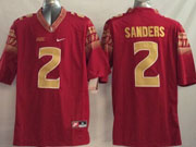 Mens Ncaa Nfl Florida State Seminoles #2 Sanders Red (2014 New Gold Number) Limited Jersey