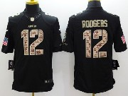 mens nfl Green Bay Packers #12 Aaron Rodgers salute to service black limited jersey