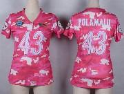 Women  Nfl Pittsburgh Steelers #43 Polamalu Pink Camo Game Jersey