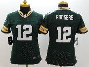 women  nfl Green Bay Packers #12 Aaron Rodgers green limited jersey