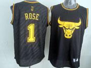 Mens Nba Chicago Bulls #1 Rose Black Precious Metals Fashion Swingman Jersey
