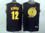 Mens Nba Portland Trail Blazers #12 Aldrige Dark Blue Precious Metals Fashion Swingman Jersey