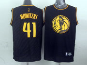 Mens Nba Dallas Mavericks #41 Nowitzki Black Precious Metals Fashion Swingman Jersey