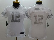 women  nfl Green Bay Packers #12 Aaron Rodgers white (silver number) platinum limited jersey