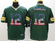 mens nfl Green Bay Packers #12 Aaron Rodgers green (2014 usa flag fashion) elite jersey