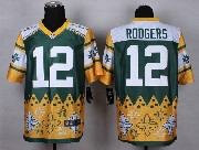 mens nfl Green Bay Packers #12 Aaron Rodgers white&yellow&green 2015 noble fashion elite jersey