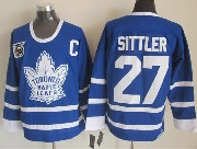 Mens nhl toronto maple leafs #27 sittler blue 75th throwbacks Jersey