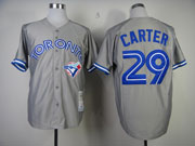 Mens Mitchell&ness Mlb Toronto Blue Jays #29 Joe Carter Gray Throwbacks Jersey