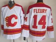 Mens Ccm Nhl Calgary Flames #14 Fleury White Throwbacks Jersey