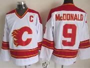 Mens Ccm Nhl Calgary Flames #9 Mcdonald White Throwbacks Jersey