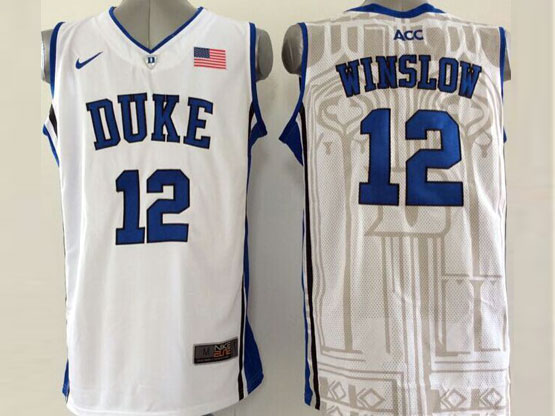 Mens Ncaa Nba Duke Blue Devils #12 Winslow White (v Neck) Jersey