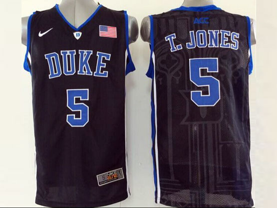 Mens Ncaa Nba Duke Blue Devils #5 T.jones Black (v Neck) Jersey