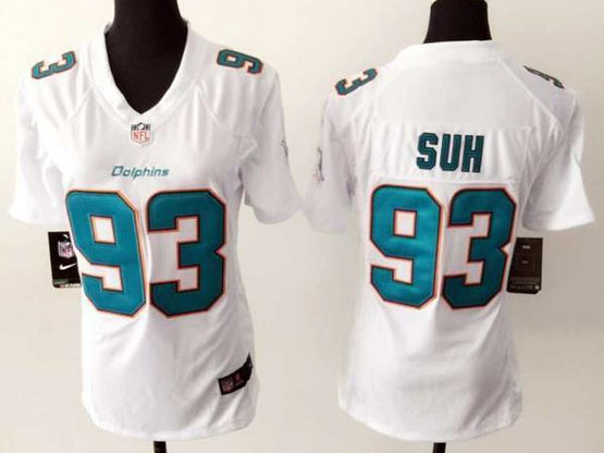 Women  Nfl Miami Dolphins #93 Suh White Game Jersey