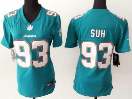 Women  Nfl Miami Dolphins #93 Suh Green Game Jersey