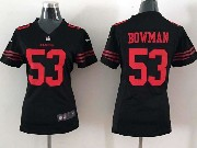 women  nfl San Francisco 49ers #53 NaVorro Bowman black game jersey