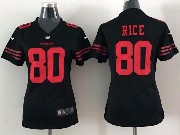 Women  Nfl San Francisco 49ers #80 Rice Black Game Jersey