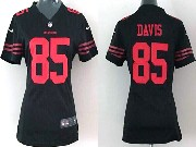 Women  Nfl San Francisco 49ers #85 Davis Black Game Jersey
