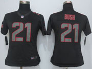 Women  Nfl San Francisco 49ers #21 Bush Black Impact Limited Jersey Sn
