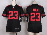 Women  Nfl San Francisco 49ers #23 Bush Black Game Jersey