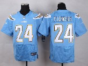 Mens Nfl San Diego Chargers #24 Flowers Light Blue Elite Jersey