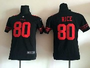 Youth Nfl San Francisco 49ers #80 Rice Black Game Jersey