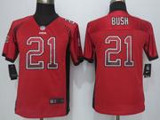 Youth New   Nfl San Francisco 49ers #21 Bush Drift Fashion Red Elite Jersey Sn