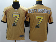 Mens Nfl Pittsburgh Steelers #7 Roethlisberger Drift Fashion Yellow Elite Jersey