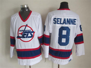 Mens nhl winnipeg jets #8 selanne white throwbacks(white shoulder)Jersey