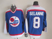 Mens nhl winnipeg jets #8 selanne blue throwbacks(white shoulder)Jersey