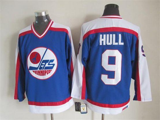 Mens nhl winnipeg jets #9 hull blue throwbacks(white shoulder)Jersey