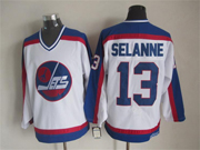 Mens nhl winnipeg jets #13 selanne white throwbacks(blue shoulder)Jersey