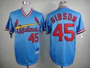 Mens mlb st.louis cardinals #45 gibson blue Jersey