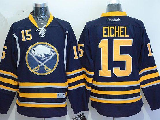 Mens Reebok Buffalo Sabres #15 Jack Eichel Navy Blue Home Jersey