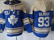 Mens nhl toronto maple leafs #93 gilmour blue hoodie with c patch Jersey